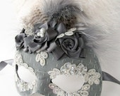Dark Gray and Lace Mask- with feathers and rosettes
