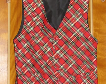 Silk Plaid Vest with Matching Bow tie