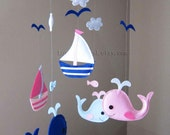 """Baby Mobile - Whale and Sailboats Crib Mobile - Handmade Nursery Mobile - """"Baby Pink and Blue Whales and Sailboats"""" (Match your bedding)"""