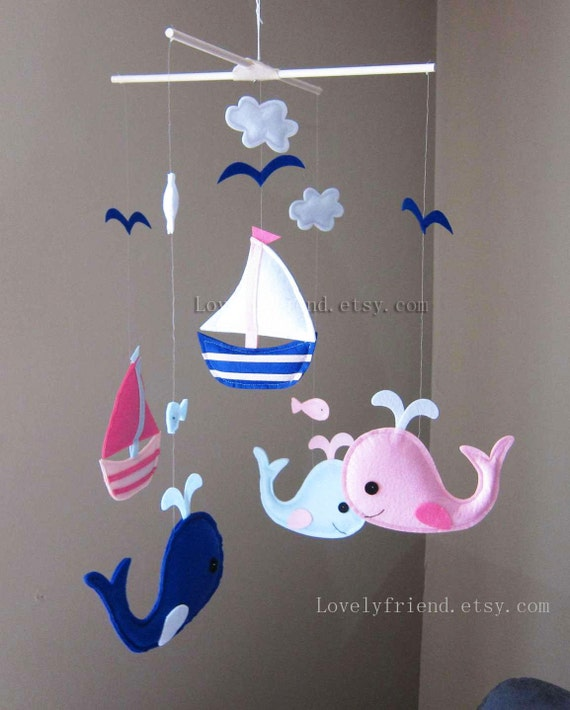 baby mobile whale and sailboats crib mobile handmade. Black Bedroom Furniture Sets. Home Design Ideas