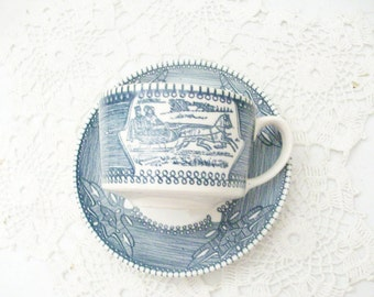 Currier Ives Blue & White Tea Cup Saucer Mount Clemens Pottery Made in USA //