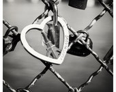 "Paris in Love - Love Locks - black and white photography, padlocks on the bridge, river 8"" x 8"" and larger - Original Fine Art Photograph"