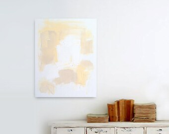 "SALE - Abstract Acrylic Painting Original Fine Art 16""x20"" by Linnea Heide - white yellow - geometric minimal - modern art - neutral"