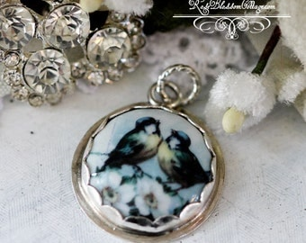 Lovebirds Round Charm or Love Bird Pendant Porcelain Sterling Artisan Handcrafted