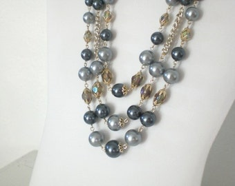 Vintage Triple Strand Necklace Grey Blue Glass Plastic Bead Japan Aurora Borealis Gold Tone Mid Century Costume Jewelry