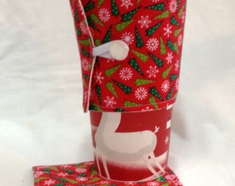 Reuseable Holiday Coffee Cup Sleeve/Cozy & Coaster Set - Reversible