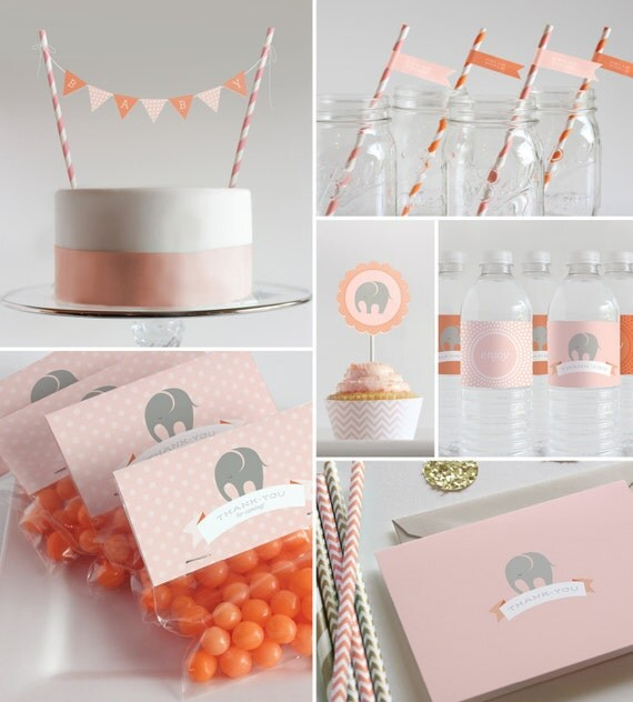 Printable decorations baby shower or first by for Baby shower function decoration