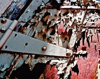 "Photographic Print ""Consumed"" worn shed door hinge rusted weathered texture vintage garage"