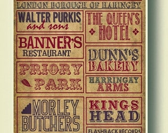 Crouch End, North London, Retro Typography Wall Art Poster