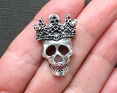 2 Skull Charms Antique Silver Tone 3 Dimensional with Crown- SC2682