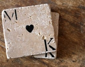 Personalized Coaster Set of 2 Couple Natural Marble Coasters Engagement Wedding Rustic Home Decor Love Heart Anniversary Valentines Day