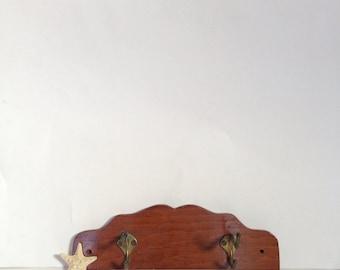 Vintage Wood Coat Rack - Two-Hook Towel Rack - Wall Hanging Petite Rack - Rustic Home Decor