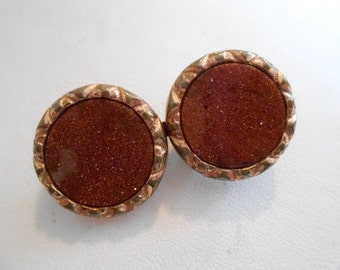 """Antique brooch, goldstone and sterling silver brooch, signed """"LE"""" brooch, vermeil button brooch, antique jewelry, vintage jewelry"""