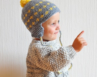 Hand Knitted Baby / Toddler Boy / Girl Grey / Yellow Pom Pom Earflap Hat  – 2 T, 3 T, 4 T, 5 T, 6, 7