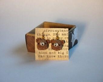 Teddy Bear Earrings Crocheted Amigurumi