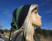 Wide Striped Hat Slouchy Beanie Tam Green Navy Rugby Striped Baggy Tie Back A1443