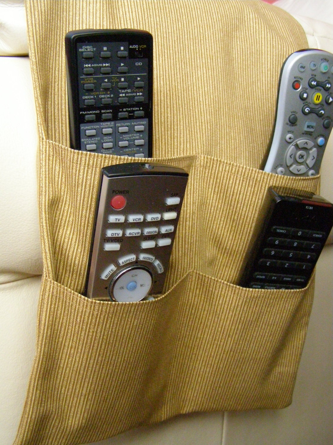 Tv Dvd Remote Control Organizer Caddy 4 Pocket Tan Mini Stripe