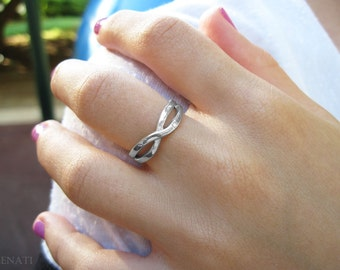 White gold infinity knot ring, Infinity ring with diamond, Diamond infinity ring, Infinity knot diamond wedding ring, Infinity promise ring