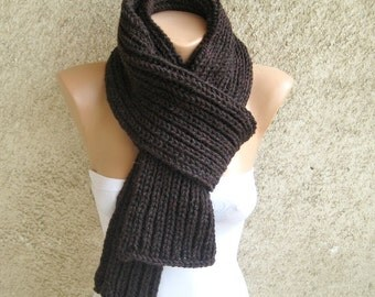 Hand Knit Brown Mens Womens Scarf, Long Thick Double face Scarf, Rib Pattern Classic Scarf, Organic Wool Ribbed Scarf, Winter Men Accessory