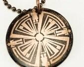 Haven Guard dark patina copper pendant
