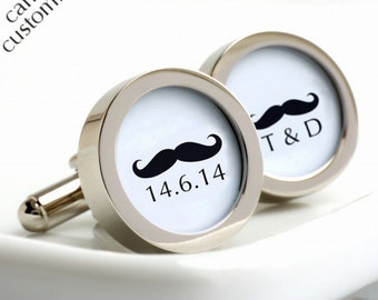 Monogram Moustache Cufflinks with Initials and Date for Grooms and Weddings - Custom Wedding Cufflinks