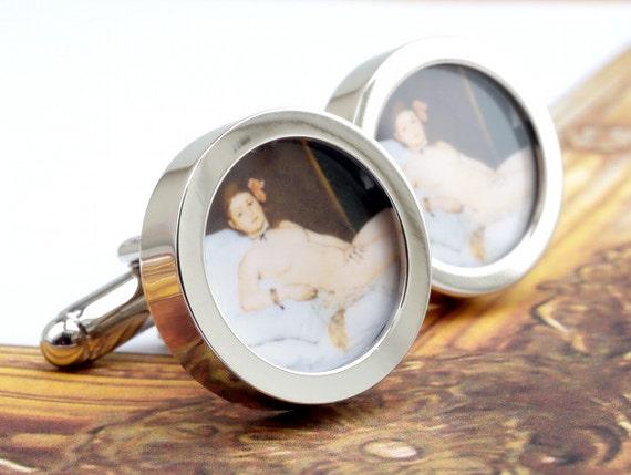 Erotic Art Cufflinks Manet's Naked Woman Olympia