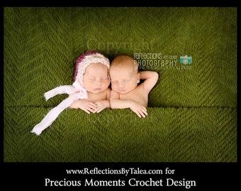 Newborn Photo Prop - Newborn Girl Bonnet,  Pink Purple Bonnet, Girl Photo Prop, Crochet Baby Bonnet, Bonnet with Flower, Baby Shower Gift