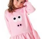 Girls Pig Dress Babydoll Style Pink Piggie Applique Tunic Animal Farm Birthday Dress Long Sleeve