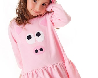 Girls Pig Dress Babydoll Style Pink Piggie Barnyard Applique Tunic Animal Farm Birthday Dress Long Sleeve 18m 2 4 6 8