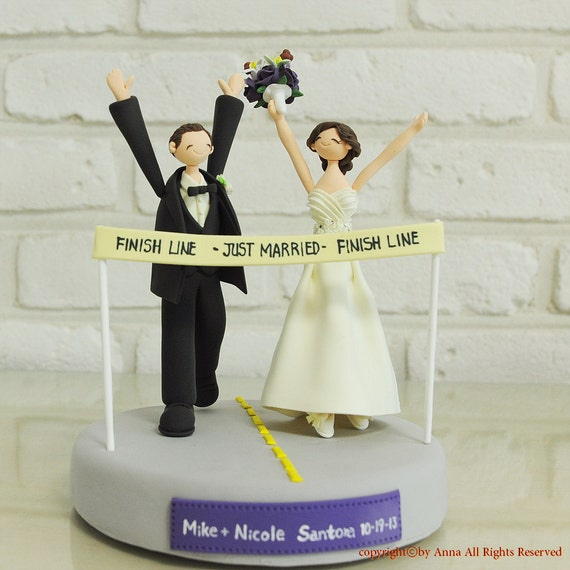 Marathoner couple custom weddng cake topper keepsake gift