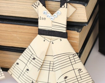 Set of 3 Vintage Sheet Music Dresses /// ORNAMENT Teacher gift /// Made to Order