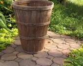 Vintage Tall Bushel Basket, Rustic Farm Basket
