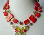 Orange Butterfly Necklace, Chunky Statement Necklace, Double Strand Artisan Necklace, Mother Of Pearl