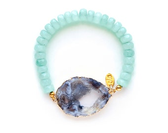 Bliss Bracelet - Gold Plated Druzy Agate with Amazonite Beads, beaded bracelet, druzy bracelet, druzy jewelry