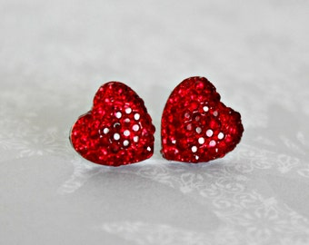 Heart Earrings, Red Sparkle Pave Rhinestone Hearts on Hypoallergenic Titanium Posts