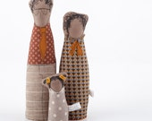 Soft sculpture African family - Couple and daughter, Dressed in Textures shades of ocher brown orange beige - timo handmade eco fabric doll