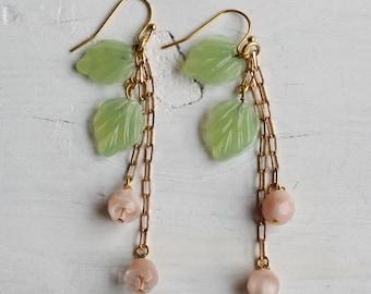 Peach Tree Earrings ... Vintage Pastel Green Opal Peach Glass
