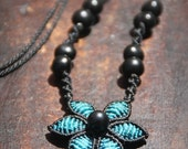 Fiber necklace TURQUOISE FLOWER, micro macrame flower necklace