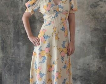 1940s Rayon Gown Floor length Floral Dress Handmade