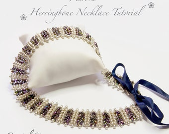 PDF beading tutorial pattern - necklace - collar - twin beads - 'Aurora' - herringbone necklace