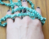 Vintage 70's Turquoise Pebble Hand Tied Necklace