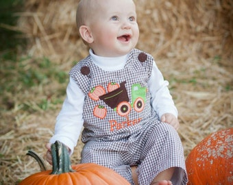 Custom Boys Infant Toddler Fall Brown & White Gingham Check Longall Jon Jon Overall with Dumptruck carrying Pumpkins Applique
