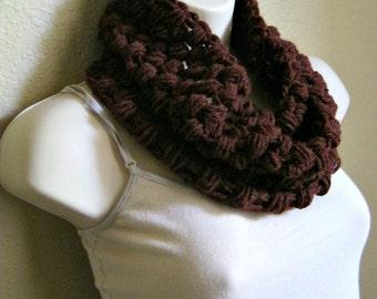 Wool Burgundy Crochet Bubble Cowl Scarf