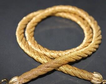 Vintage Gold Tone Rope Necklace.  Vintage  Crown Trifari Necklace