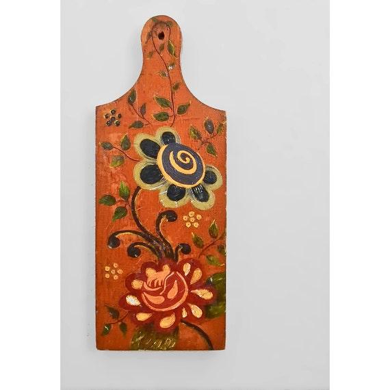 Vintage Floral Wood Wall Hanging - Hand Painted Folk Art Cutting Board - Flower Wooden Wall Art Kitchen Decor - ON SALE!