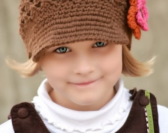 Baby Toddler Child Tween Teen Adult Flower Newsgirl Newsboy Crocheted Beanie Hat Espresso in Brown with Pumpkin and Hot Rose Flower