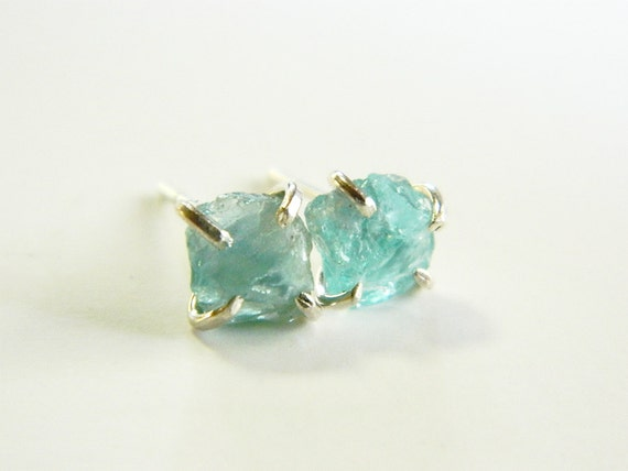 Neon blue Apatite stud earrings silver post by designbygam ...