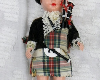 Vintage Scottish Boy Doll with Bag Pipes and Beautiful Costume