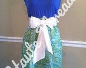 Gameday Bright Blue & Lime Green Paisley Tube Strapless Dress with White Sash Bow - Medium