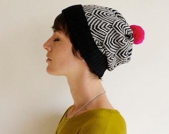 Scallop Knit Hat, Geometric Pattern, Wool Slouchy Beanie, Black & White with Neon Pink Pom Pom